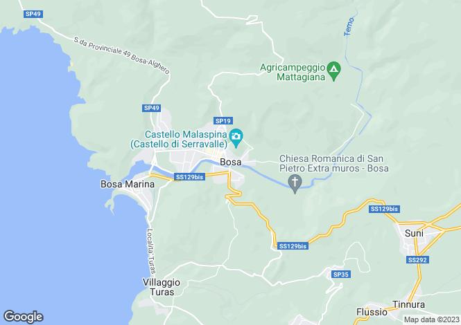 Map for Villa Piccolo Paradiso, Bosa, Sardinia