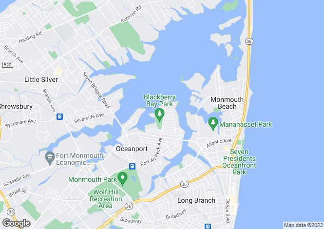 Map for USA - New Jersey, Monmouth County, Oceanport