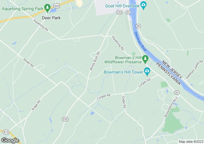Map for Pennsylvania, Bucks County, New Hope
