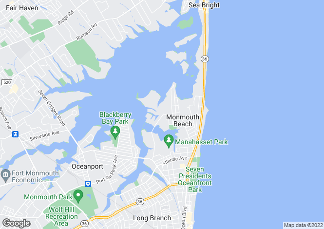 Map for USA - New Jersey, Monmouth County, Monmouth Beach