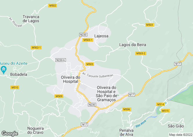 Map for Beira Litoral, Oliveira do Hospital