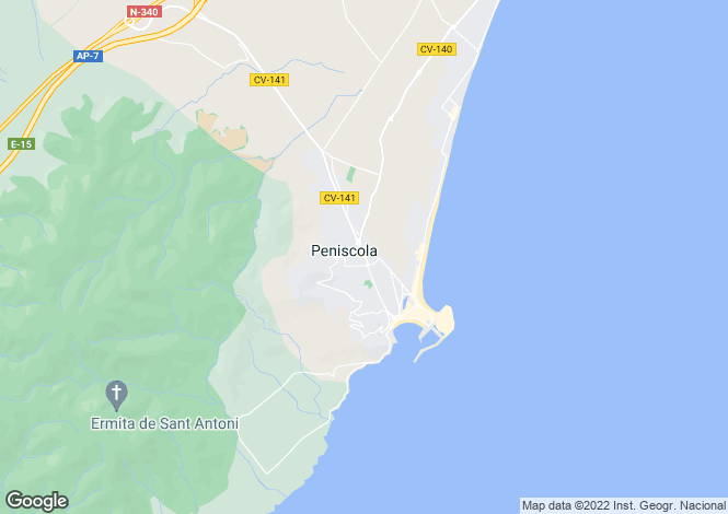 Map for Peniscola, Castellon, Spain