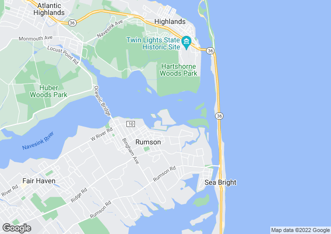 Map for USA - New Jersey, Monmouth County, Rumson