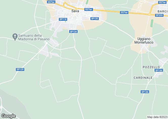 Map for SP134, Sava, Apulia