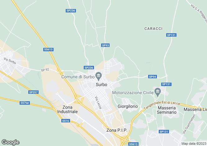 Map for SP93, Surbo, Apulia