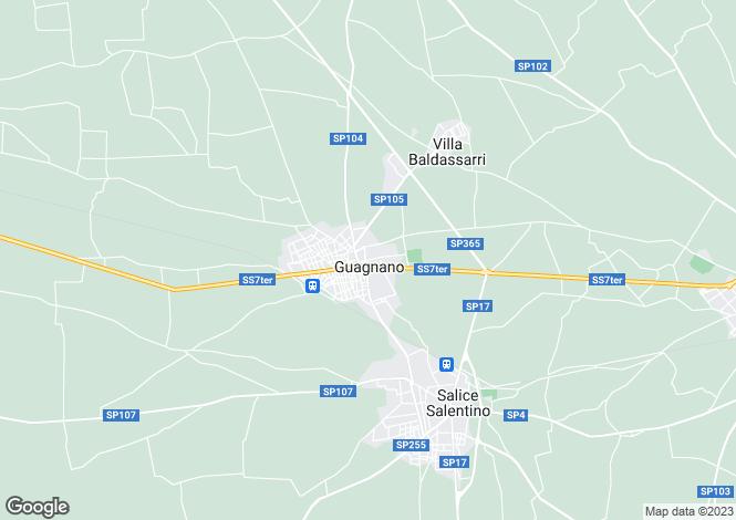 Map for Apulia, Lecce, Guagnano