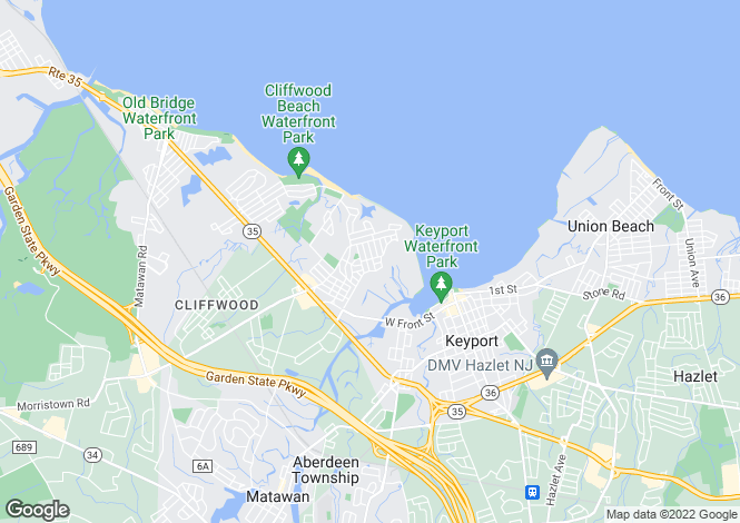 Map for USA - New Jersey, Monmouth County, Cliffwood Beach