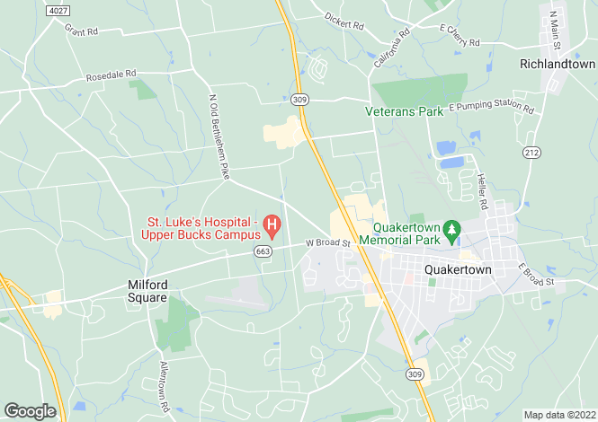 Map for Pennsylvania, Bucks County, Quakertown