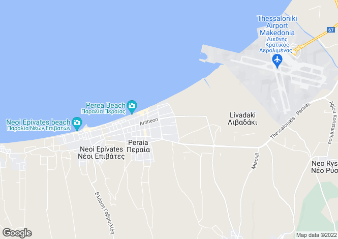 Map for Central Macedonia, Thessaloniki, Peraia