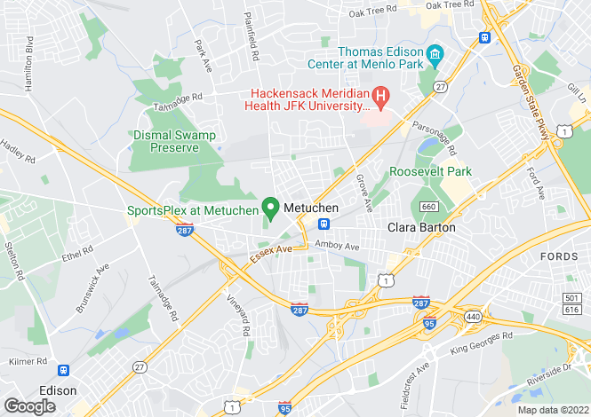 Map for USA - New Jersey, Middlesex County, Metuchen