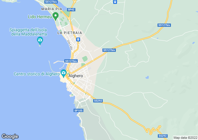 Map for Alghero, Sassari, Sardinia