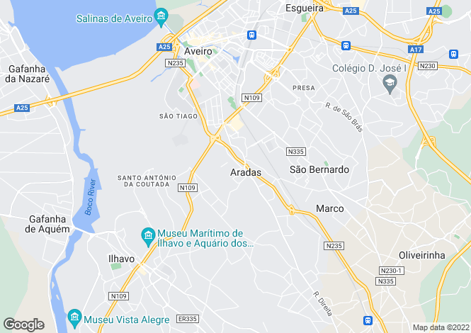 Map for Aradas, Aveiro, Aveiro