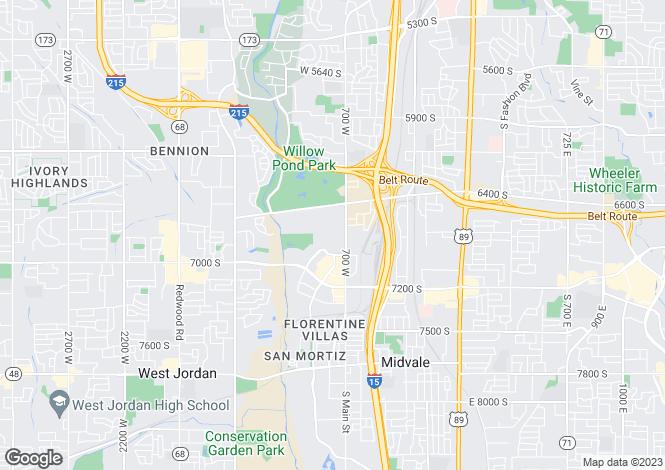 Map for USA - Utah, Salt Lake County, Midvale