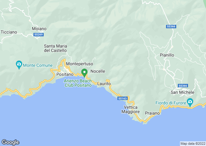 Map for Positano, Salerno, Campania