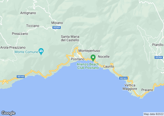 Map for Positano, Salerno, Italy