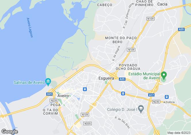Map for Aveiro, Silver Coast, Portugal