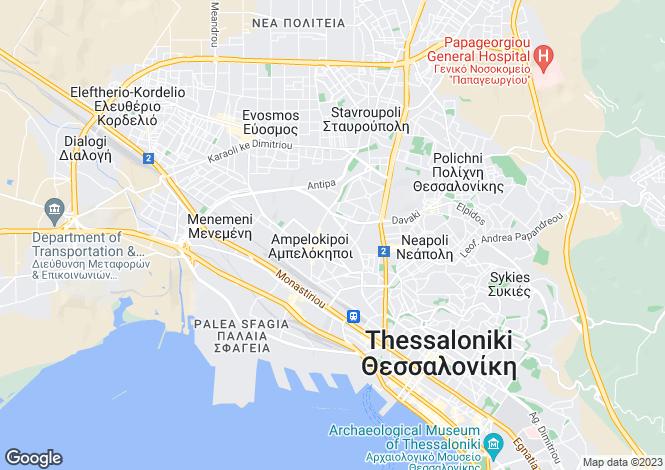 Map for Central Macedonia, Thessaloniki, Ampelokipoi