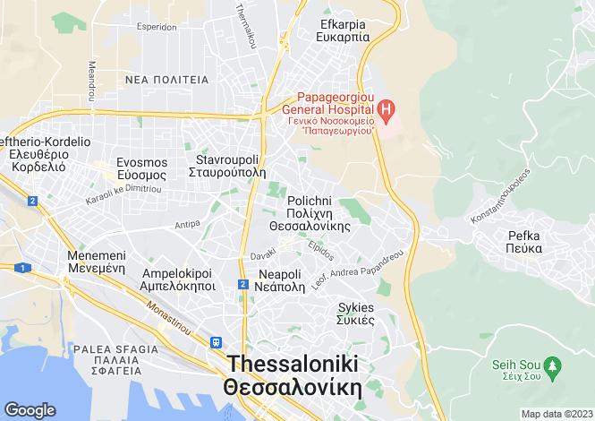 Map for Central Macedonia, Thessaloniki, Polichni
