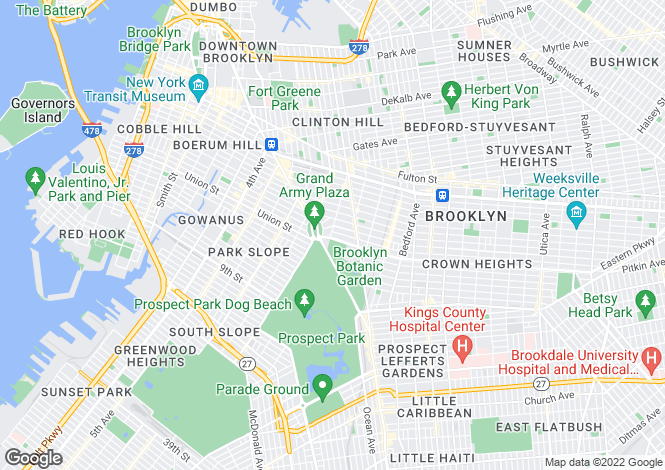Map for Eastern Parkway, Brooklyn, New York