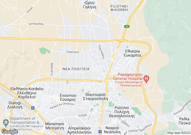 Map for Central Macedonia, Thessaloniki, Evosmo