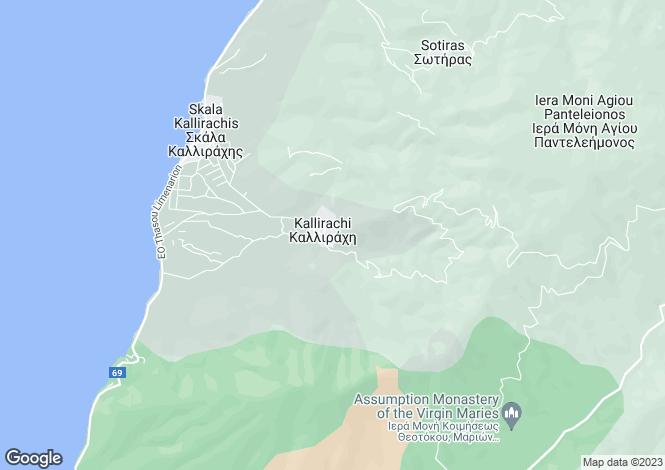 Map for Eastern Macedonia and Thrace, Kavala, Kallirachi