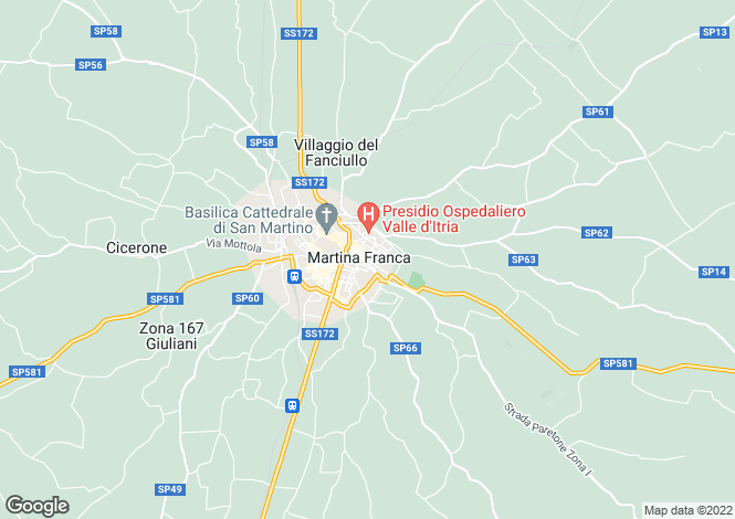 Map for Apulia, Taranto, Martina Franca
