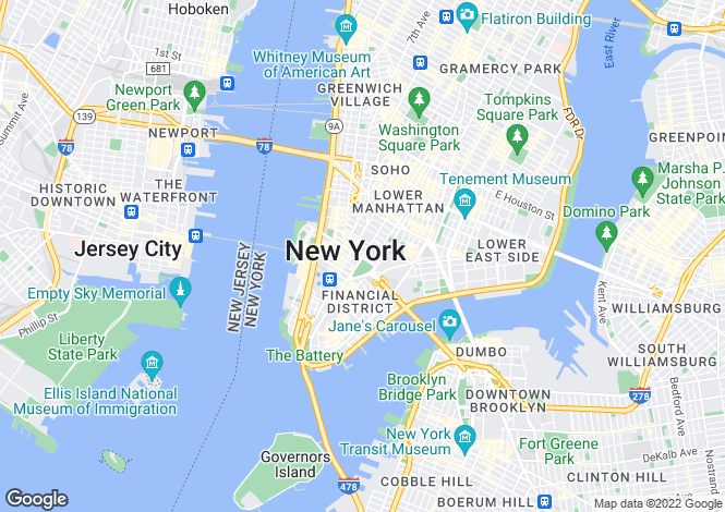 Map for Manhattan, New York, USA