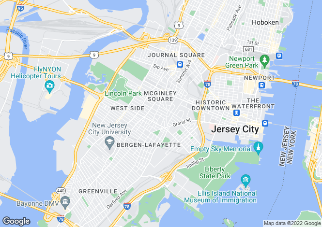 Map for USA - New Jersey, Hudson County, Jersey City