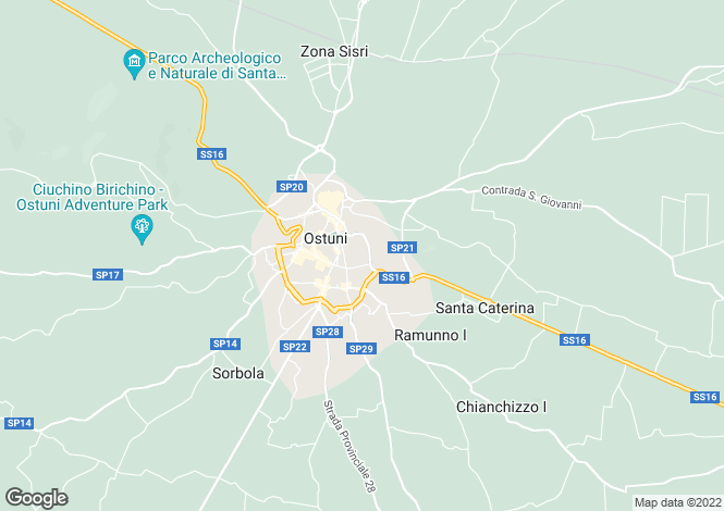 Map for Villa Pietone, Ostuni, Puglia, Italy