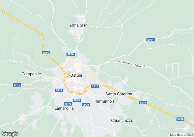 Map for Ostuni, Brindisi, Puglia, CP16-01