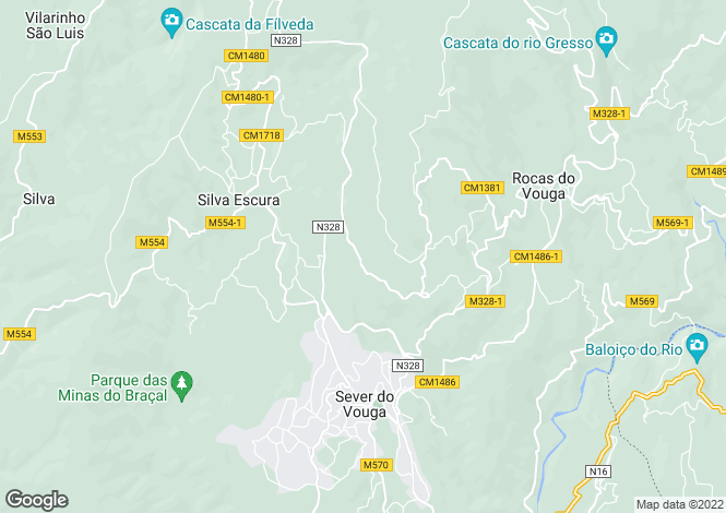 Map for Portugal,Aveiro,Sever do Vouga