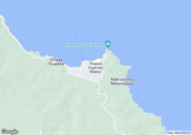 Map for Thassos, Northern Aegean islands
