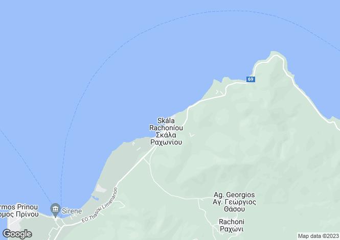 Map for Eastern Macedonia and Thrace, Kavala, Rachoni