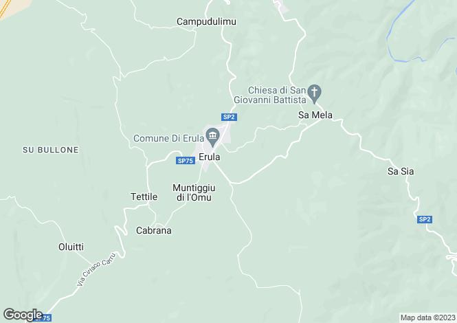 Map for Sardinia, Sassari, Erula