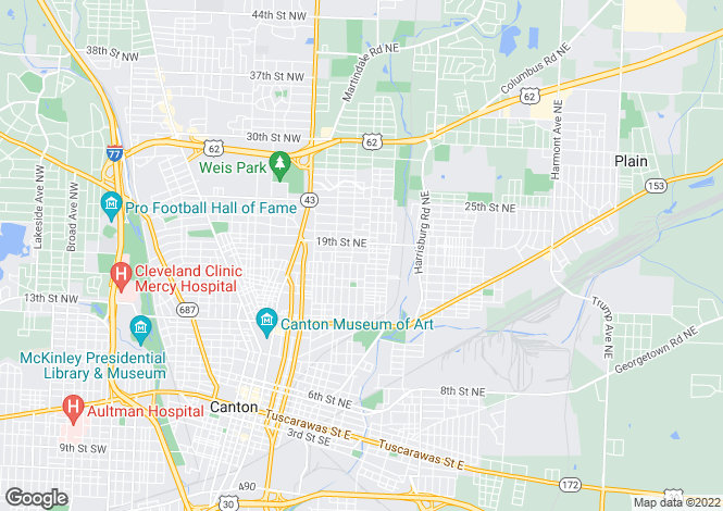 Map for USA - Ohio, Stark County, Canton