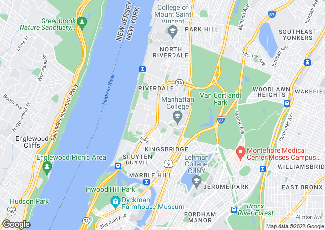 Map for Riverdale, Bronx, NY