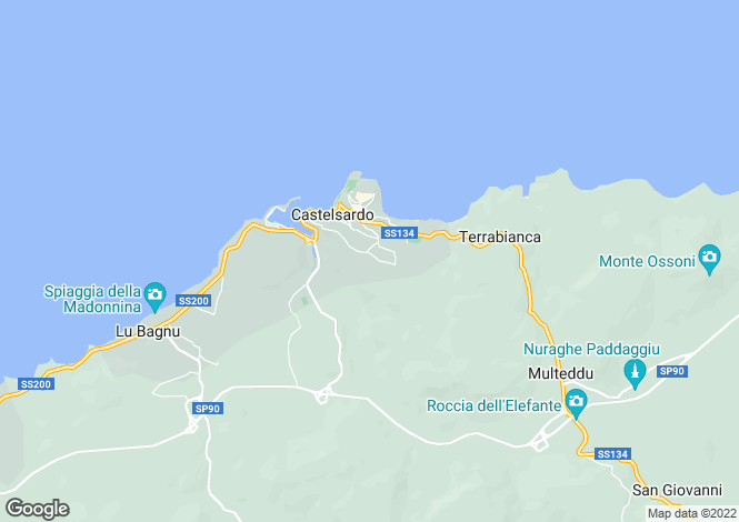 Map for Sardinia, Sassari, Castelsardo