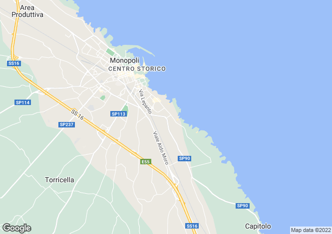 Map for Monopoli, Italy