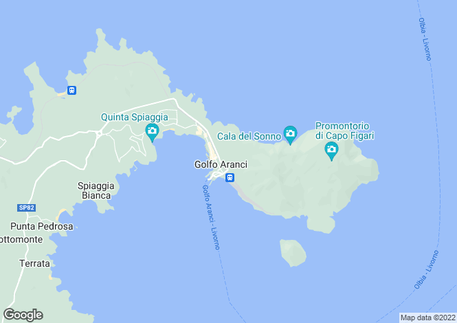 Map for Golfo Aranci, Sassari, Sardinia