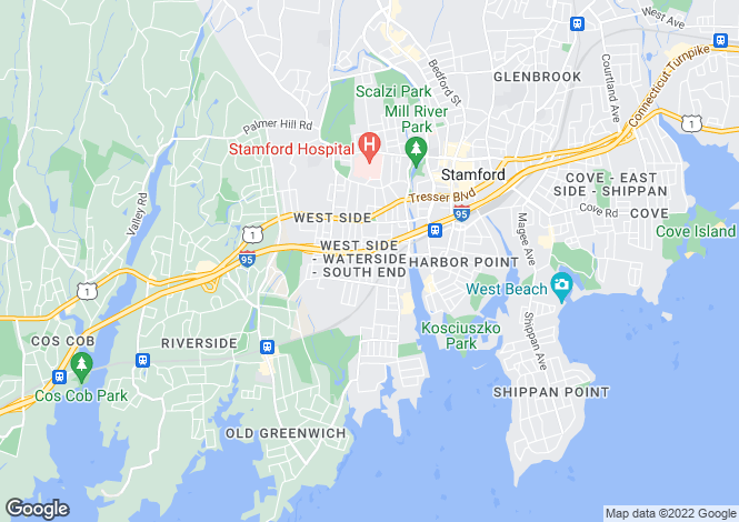 Map for USA - Connecticut, Fairfield County, Stamford
