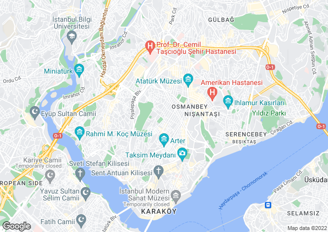 Map for Istanbul, Bomonti