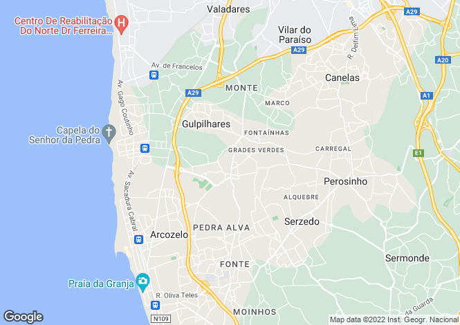 Map for Portugal,Porto,Arcozelo