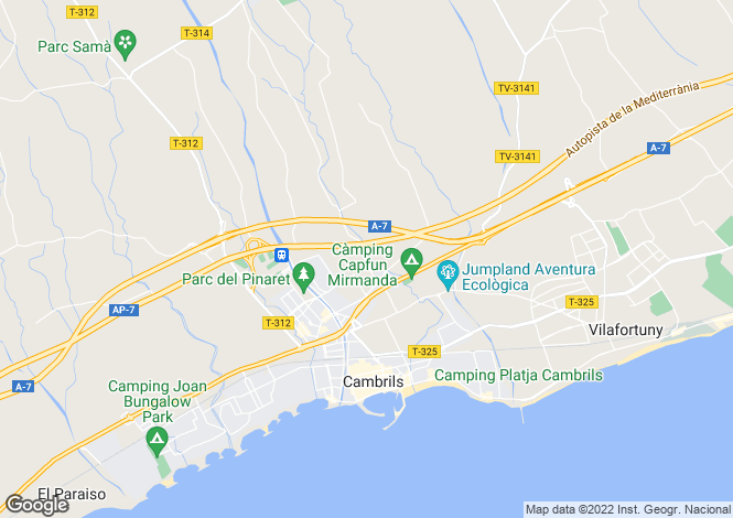 Map for Catalonia, Tarragona, Cambrils