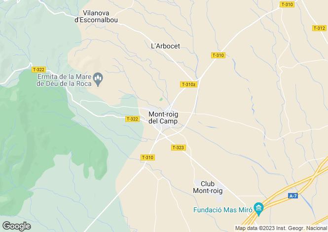 Map for Catalonia, Tarragona, Mont-roig del Camp