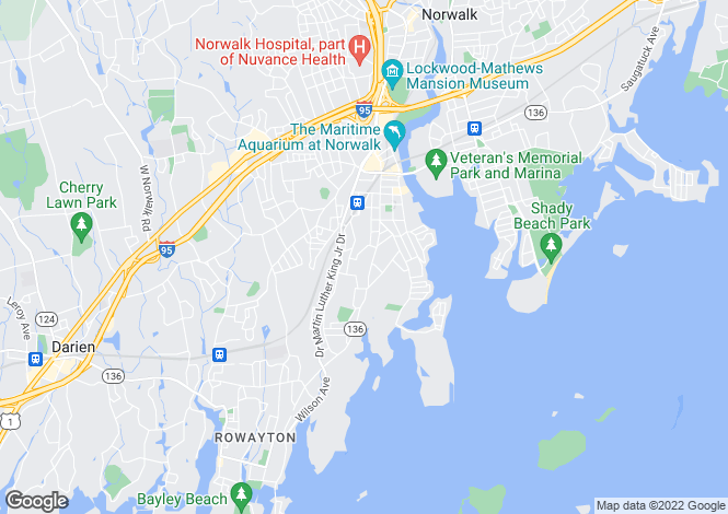 Map for USA - Connecticut, Fairfield County, Norwalk