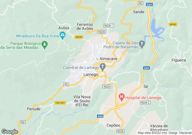Map for Portugal,Viseu,Lamego