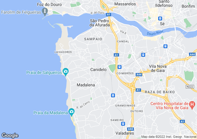 Map for Apartment With Beach Views, Canidelo, Porto