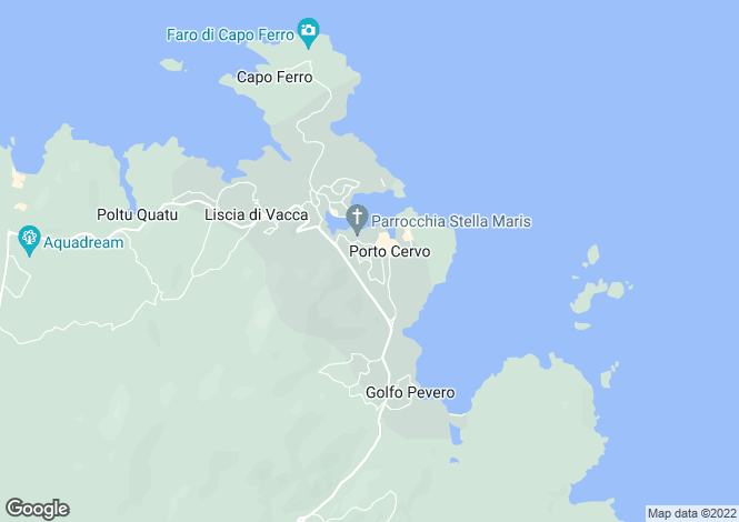 Map for Porto Cervo, Costa Smeralda, Sardinia