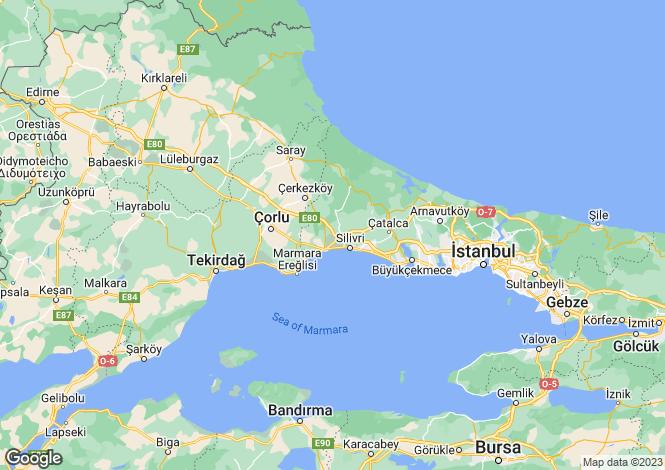 Map for Turkey - Istanbul, Silivri