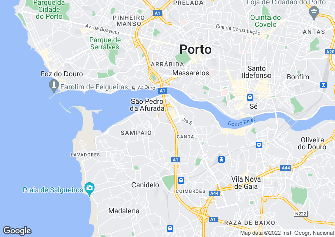 Map for Oporto, Vila Nova de Gaia